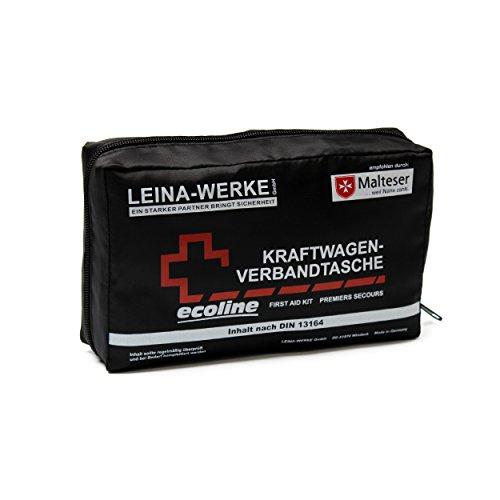 Leina-Werke 11046 KFZ-Verbandtasche Compact Ecoline mit Klett, Schwarz/Weiß/Rot