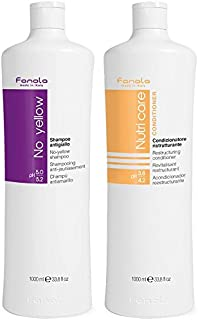 Fanola No Yellow Shampoo & Nutri Care Conditioner, 1000 ml