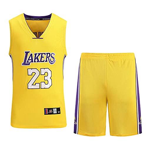 Wsaman 23# Vintage Jersey, Chaleco Deportivo para Gimnasio, No.23 Camiseta de Baloncesto para niños Hombres, Jersey Summer NBA Sports Uniformes,Yellow b,L
