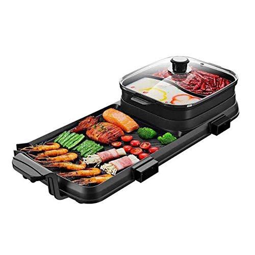LONGWDS sartén Multi-funcional 3-en-1 Pot, antiadherente eléctrica Korean BBQ Grill y Hot...