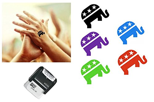 REPUBLICAN ELEPHANT Hand Stamp - suitable for Festivals, Parties, Clubs, Special Events, Bars etc. (Red)