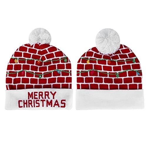 Sombrero de Punto de Navidad, Sombrero de Invierno Cálido Y Suave de Punto de Navidad Sombrero Ligero para Niños Adultos Festivales Fiesta de Vacaciones(Forma 5)
