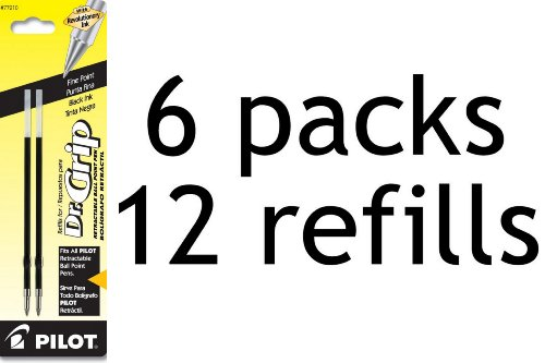 Pilot Dr. Grip Ballpoint Ink Refill, 2-Refills for Retractable Pens, Fine Point, 6-Pack, Black Ink (77210)