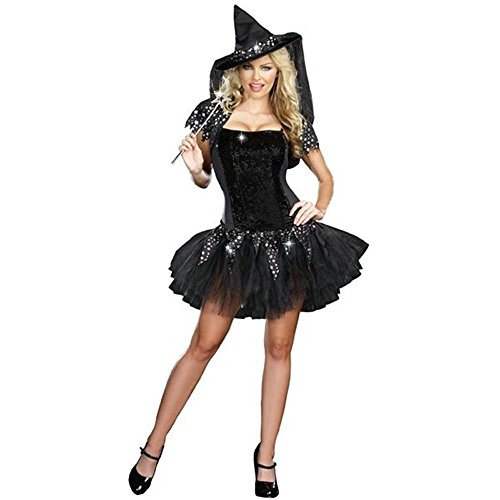 Fuman Sexy Witch Hexenkostüm für Party Halloween Fasching Karneval Kostüm Damen XL