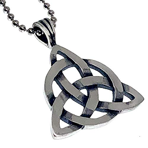 Viking Celtic Jewelry Triquetra Trinity knot Christianity Pagan Magic Magick Wicca Wiccan Witch Protection Amulet Men's Women's Pewter Pendant Necklace Charm for men women w Silver Ball Chain