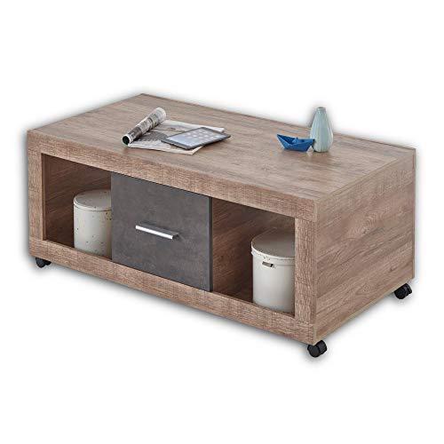 CAN CAN Moderner Couchtisch auf Rollen in Samdal Oak Optik, Anthrazit - mobiler Sofatisch mit Ablagefächern & Schubladen für Ihren Wohnbereich - 115 x 46 x 60 cm (B/H/T)
