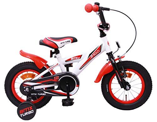 AMIGO BMX Turbo - Kinderfahrrad - 12 Zoll - Jungen - mit Rücktritt und Stützräder - ab 3 Jahre - Weiß