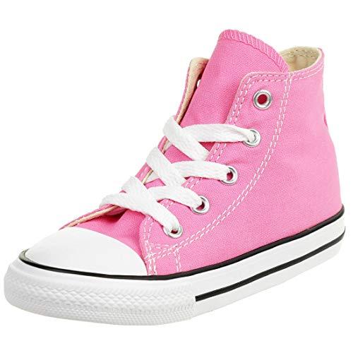 Converse 7J234C, Zapatillas Altas de Tela Infantil, Rosa, 19 EU