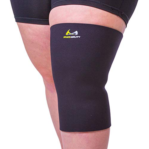 BraceAbility Plus Size Neoprene Knee Sleeve - XXL Wide Calf Compression Support Brace for Overweight to Obese Women or Men, Tapered Design for Big Thighs and Extra-Large Bariatric Calves (2XL Wide)