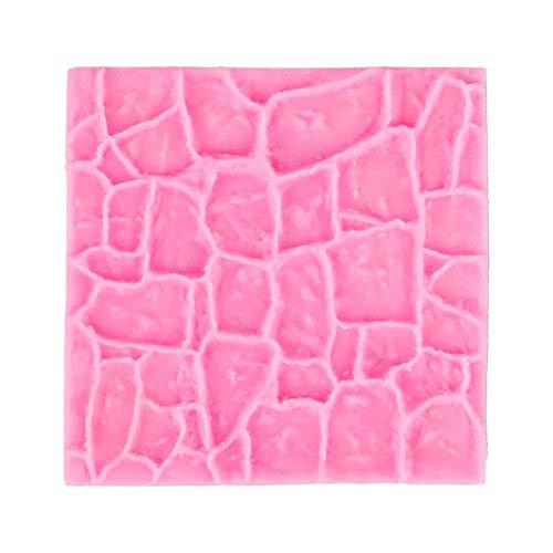 Molde de silicona 3D de castillo antiguo de granja para pared de piedra de jardín, molde de silicona para chocolate, fondant, decoración de pasteles y pan, para hornear galletas