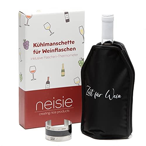 """neisie ® Wein-Set: Kühlmanschette """"Zeit für Wein"""" inkl. Flaschenthermometer – kühlt schnell & anhaltend – flexible Passform – Wein-Geschenkset"""