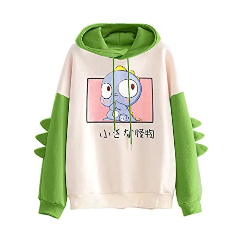 Neu Damen Sweatjacke Hoodie Sweatshirtjacke Kawaii Cartoon Dinosaur Pullover Oberteile Kapuzenpullover Outdoor Casual Sweatshirt Tops für Frauen und Mädchen(Grün,XL)