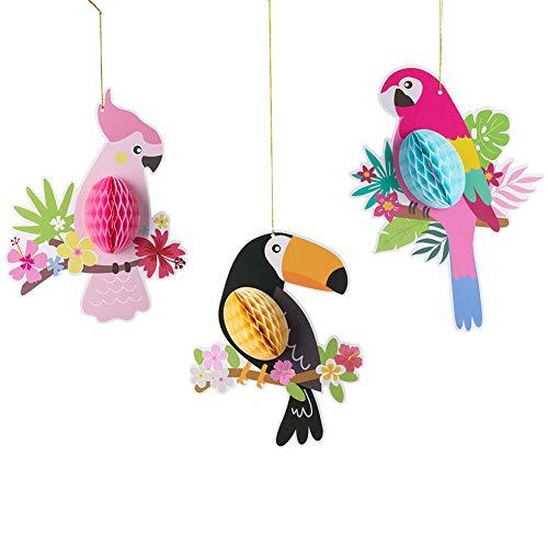 SUNBEAUTY Papier Vögel Dekoration Pink Papagei Tier Party Garten Kinderzimmer Deko (Tropische Vögel)