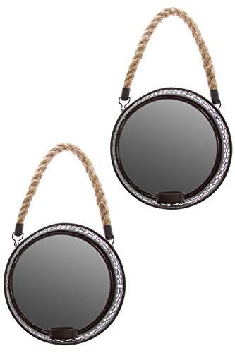 elbmöbel Wandleuchte Blaker Kerzenhalter 2er Set mit rundem Spiegel Ornamente Landhausstil schwarz Metall