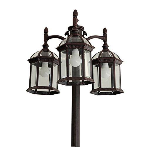Lamp Post Light Pole Portfolio Outdoor Garden Yard Driveway Lamppost 3 Head Lamp