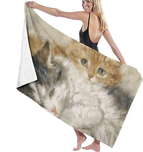 Ches Henriette Ronernip Sleeping Kitten Womens SPA Shower and Wrap Towels Natación Albornoz - Blanco