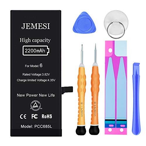 JEMESI Battery for Model iPhone 6, New 2200mAh High Capacity Battery Replacement, with Repair Tool Kit and Instructions- 1 Year Warranty