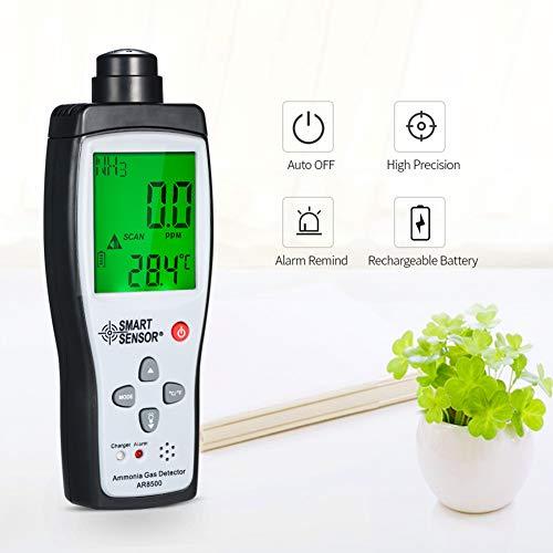Smart Sensor,Detector de Gas,Medidor de Gas Analizador de Detectores de Amoniaco Probador Termómetro con Pantalla LCD