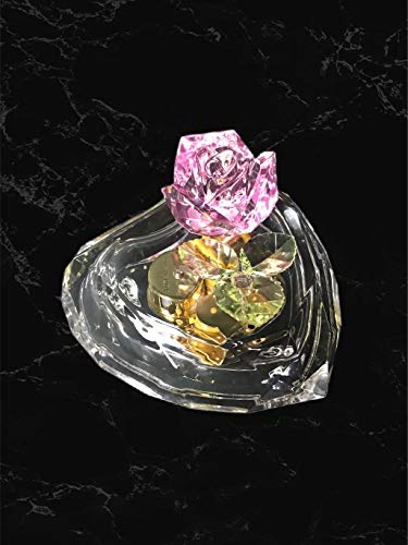 UTowels Mechanical Wind-up Music Box with LED Lights Transparent Acrylic Melody Castle in The Sky Carrying You (Heart & Pink Rose)