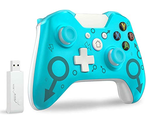 Wireless Controller für Xbox One, Wireless PC Gamepad mit 2.4GHz Wireless Adapter Kompatibel mit Xbox One/One S/One X/Windows 7/8/10, Blau (keine Audio Jack)