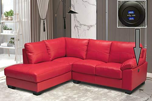 RED High Grade Genuine Italian Leather Corner Sofa + USB CHARGING PORT - BROOKLYN (Left Hand Facing)