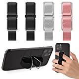 4 Pieces Phone Strap, CISID Cell Phone Grip Finger Holder Kickstand for Back of Phone Compatible with iPhone and Android(Black,Black,Grey,Pink)