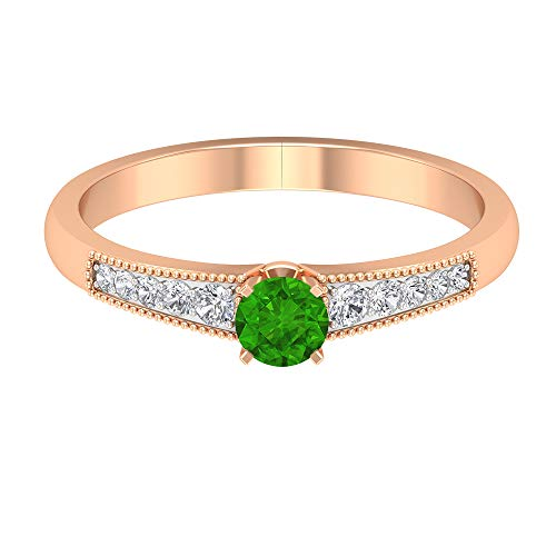 Anillo de compromiso de diamante HI-SI con piedras laterales, anillo de compromiso de oro para mujer, oro de 14 quilates, Metal, Diamond Creado en laboratorio de tsavorita,