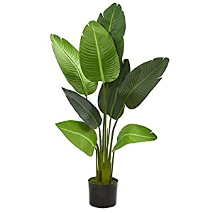 Silk Flower Arrangements Nearly Natural 4' Travelers Palm Tree Artificial Plant, Green