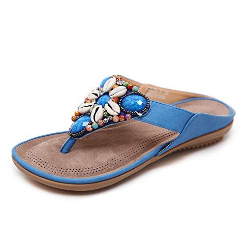 Magicrulu Damen Hausschuhe Flip-Flops Strandschuhe Sandstrand Urlaub Muscheln und Perlen Blau 43