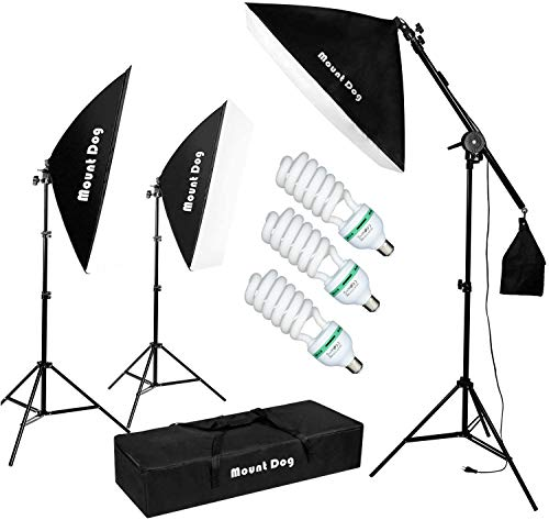 MOUNTDOG Photography Studio Softbox Lighting Kit Continuous Lighting System Photo with 3pcs E27 95W Bulbs Arm Holder Photo Video Soft Box Lighting Set for YouTube Filming Portrait Shooting