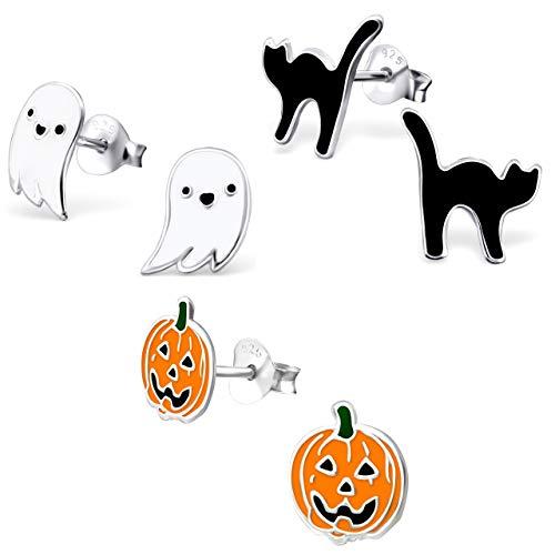 925 Sterling Silver NEW Set of 3 Pairs Halloween Ghost Black Cat and Jack Pumpkin Stud Earrings (Nickel Free)