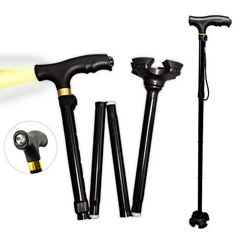MM-PROGRESS Gehstock Gehhilfe Höhenverstellbar, Klappbar, Vierfuß, Anti-Rutsch-Stecken faltbar mit eingebauter Taschenlampe