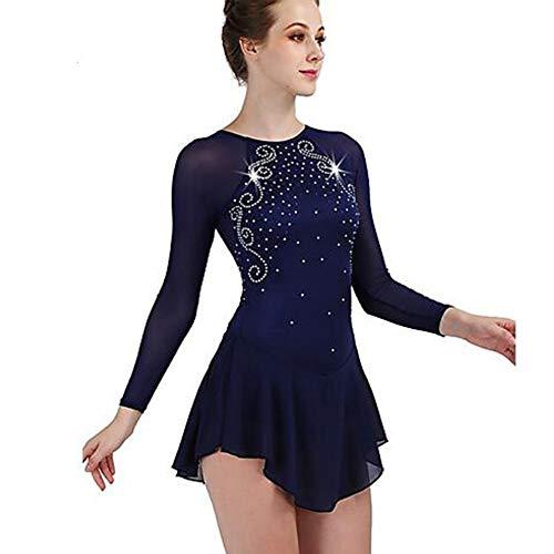 LWQ Performance Eislaufen, Eiskunstlauf-Kleid-Frauen-Mädchen Eislaufen Kleid Dark Navy Open Back Spandex Stretch-Garn Hohe Elastizität,Child 10