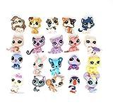 btbt Littlest Pet Shop Juguete para niños LPS Gatos y Perros Aleatorio 20 Piezas Tienda de Mascotas Original Gato Perro Conejo Aminals 5 cm de Altura Niño Suelto Juguetes Lindos