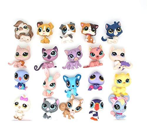 btbt Littlest Pet Shop Juguete para niños LPS Gatos y Perros Aleatorio 10 Piezas Tienda de Mascotas Original Gato Perro Conejo Aminals 5 cm de Altura Niño Suelto Juguetes Lindos
