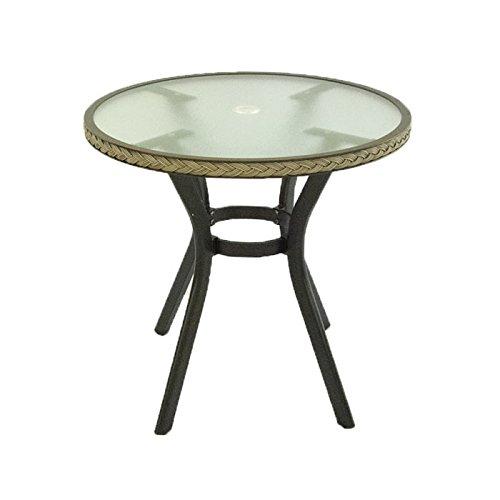 Mesa de jardín Redonda de 72 cm de diámetro y 72 cm de Altura, Estructura de Aluminio Color Negro y Trenzado en Fibra sintética Color Natural: Amazon.es: Jardín