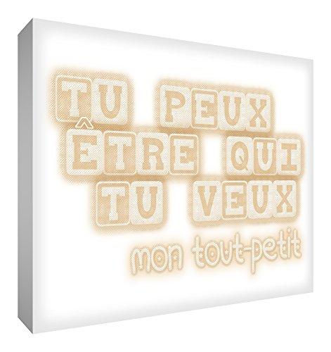 Toile sur cadre Feel Good Art mural de style moderne et typographique - TU PEUX ÉTRE QUI TU VEUX - Beige (60 x 40cm)