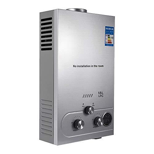 Bestine 18L Durchlauferhitzer LPG Warmwasserbereiter Propangas Gas-Durchlauferhitzer Heißwasserbereiter Boiler Warmwasserspeicher Tankless Instant Boiler mit LED Bildschirm