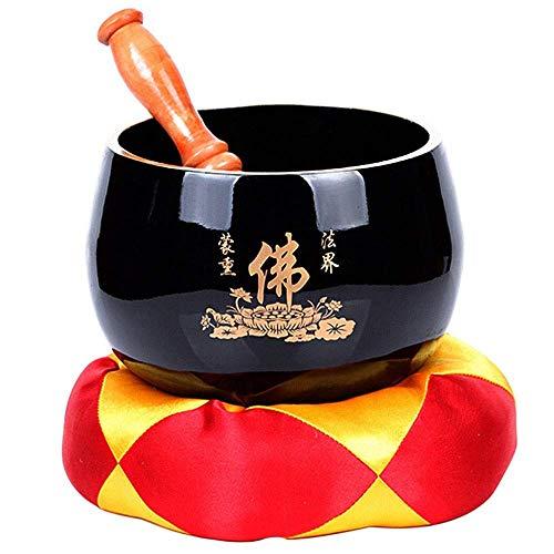 HYCy Cuenco para Cantar Cuenco para Cantar Tibetano Cuenco para Cantar con mazo, cojín de Seda útil para Yoga para meditación de atención Plena (Color: Black, Size: 14.6X11.5Cm)