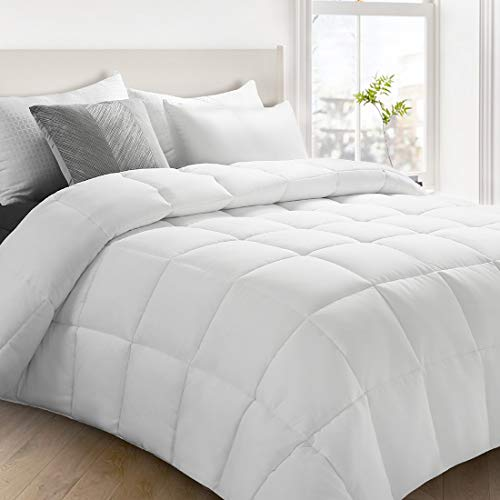 Fraylon All Season Queen Comforter, Soft Quilted Down Alternative Comforter Hotel Luxury Collection Reversible Duvet Insert with Corner Tabs, Fluffy & Lightweight,88x88 Inches,White