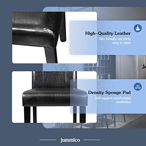 JUMMICO Dining Chair PU Leather Living Room Chairs Modern Kitchen Armless Side Chair with Solid Wood Legs Set of 4(Black)