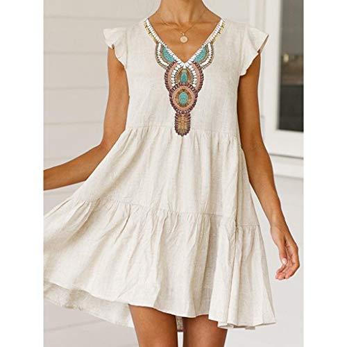 Lialbert Boho Leinenkleid Vintage Skaterkleid Dame Kleid A-Linie V-Ausschnitt Pailletten RüSchenäRmeln Strandkleid Tunika T-Shirt-Kleid Kurzes HäNgerkleid Weiß