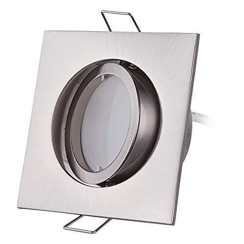 HCFEI 3er set LED Einbaustrahler eckig dimmbar matt-chrom schwenkbar 5W flach 230V Einbau-Spot Strahler Einbauspot 68mm Bohrloch, 120°Abstrahlwinkel (Warmweiß)