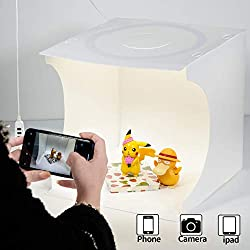 Photo light box Portable photo studio Light tent Shooting tent set Foldable small product Jewelry photo booth set White soft cube with switchable 3-color LED circular lights (12 x 12 x 12inch (LxHxW).