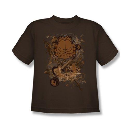Garfield - Rock-Regeln - Jugend Kaffee Kurzarm T-Shirt für Jungen, Youth X-Large, Coffee