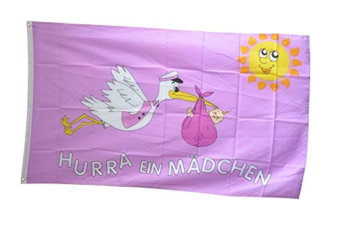 Fahne / Flagge Hurra ein Mädchen + gratis Sticker, Flaggenfritze®