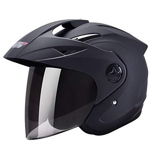 FLY® Casque De Moto, Demi-casque Anti-buée Pour Équitation Extérieure, Adapté Aux Hommes Et Aux Femmes, Tour De Tête (54cm-60cm) (Couleur : NOIR)