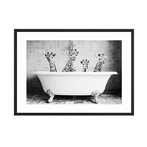 HSFFBHFBH Giclée Leinwanddruck Wandkunst Malerei Wohnkultur Giraffe Tierbaby in Badewanne Bild Nordischen Stil Poster Für Kinderzimmer 40x50 cm Kein Rahmen