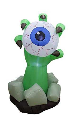 6 Foot Halloween Inflatable Monster Hand with Blue Eyeball