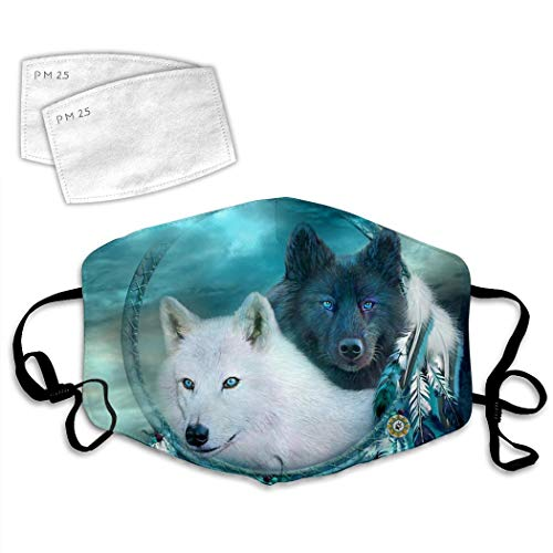 Dream Catcher Wolf Face Mask Reusable and 2 Filters,Mouth Muffle Anti-Dust for Unisex